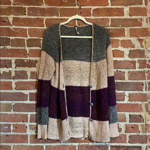 Free People striped knit cardigan sweater